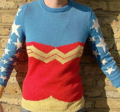 As a newly initiated Wonder Woman fangirl, I NEED to make myself this sweater.