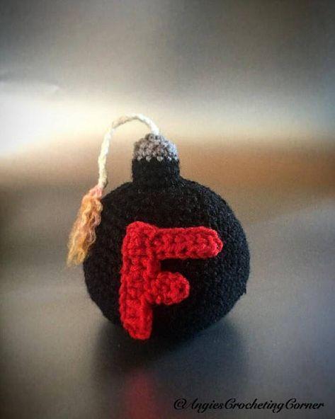 F-Bomb, crochet F bomb, Cuss Bomb, Lit F Bomb, F bomb toy, stuffed F ...