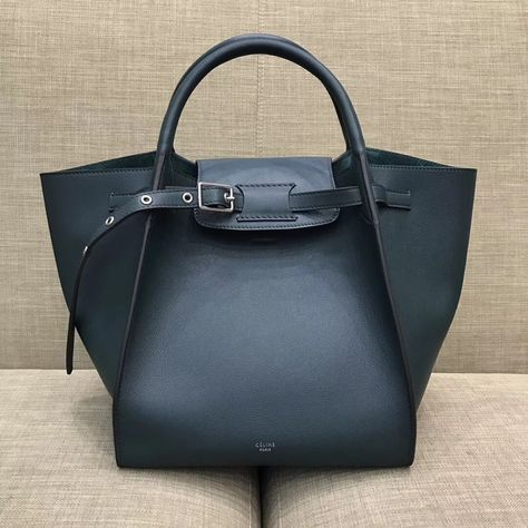 Celine Small Big Bag With Long Strap in Smooth Calfskin Dark Green 2018