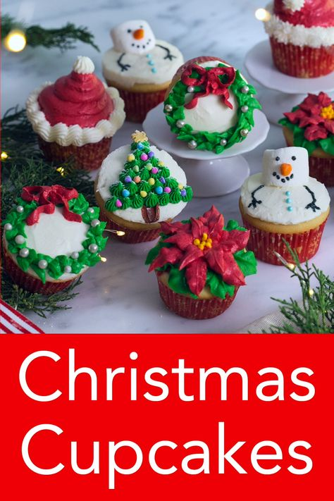 These festive Christmas cupcakes decorated five different ways from Preppy Kitchen are too cute not to make for your next holiday gathering! Moist and fluffy vanilla cupcakes topped with vanilla buttercream, this recipe will become a year-round favorite! Christmas Cupcakes Decoration, Holiday Cupcakes, Holiday Desserts, Holiday Baking, Holiday Treats, Holiday Recipes, Holiday Decorations, New Year Cake Decoration, Christmas Kitchen Decorations