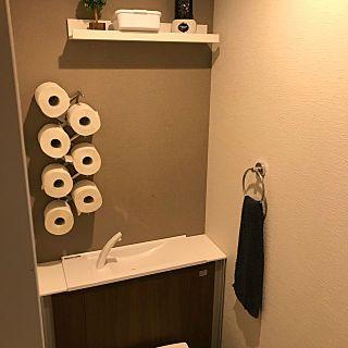 バス トイレ トイレットペーパー見せる収納 トイレットペーパー収納 ウォールラック ディッシュスタンド などのインテリア実例 2018 04 24 17 32 22 Roomclip ルームクリップ トイレットペーパー 収納 ディッシュスタンド インテリア