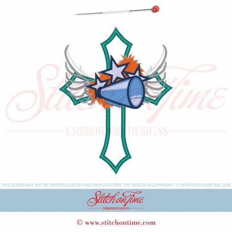 118 Cheerleader : Cross With Winged Megaphone Applique 5x7
