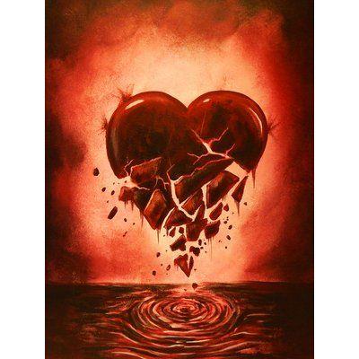 "Ebern Designs 'Love Lost Broken Heart' Print on Wrapped Canvas Size: 24"" H x 18"" W"