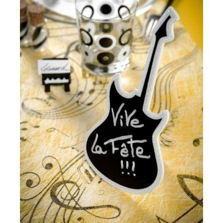 Marque Table Guitare Ardoise Blanc Paillete En Bois 20 Cm Nappe