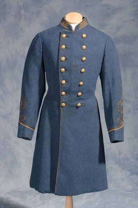civil war confederate officers double breasted wool frock coat 4 row braids  52