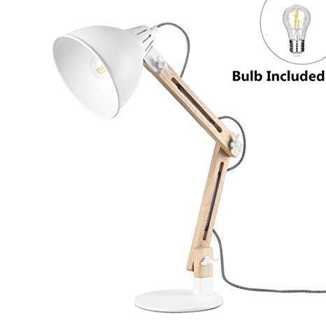 Viugreum Led Desk Lamp Natural Wooden Swing Arm Table Lamp For Living Room Bedroom Studio Study And Office Bulb Included Desk Lamp Table Lamp Led Desk Lamp