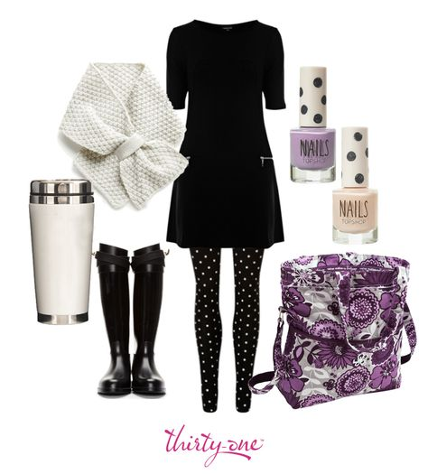 Black, white and awesome all over! Thirty-One's Retro Metro Fold-over in Plum Awesome Blossom will jazz up almost any outfit. www.mythirtyone.com/231655