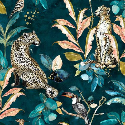 Cheetah Teal wallpaper by Graduate Collection