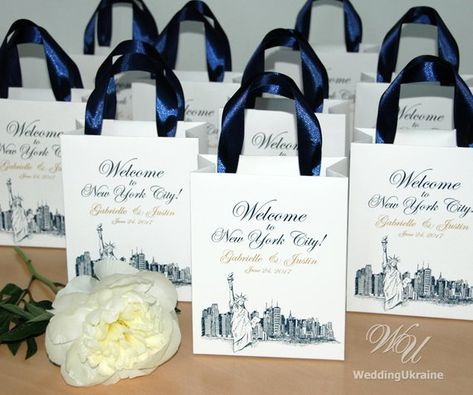 35 Welcome To Nyc Wedding Bags With Navy Satin Ribbon Handles And