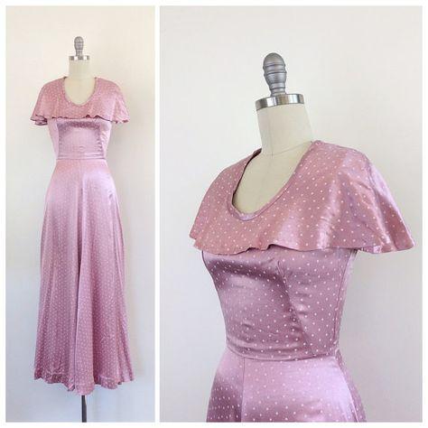 40 años rosa vestido Maxi de seda con cabo  por CheshireVintageShop
