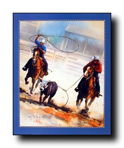 Cowboy Rodeo Clown Western Wall Picture Black Framed Art Print