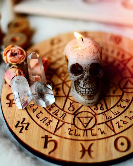 Skull Candles + Crystal Grids - Utterly Wicked Witch Ideas for Halloween - Photos