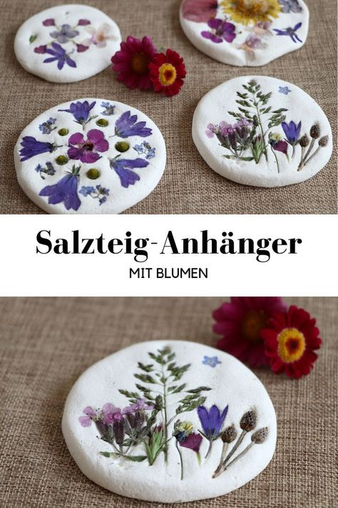 DIY: Salzteig-Anhänger DIY: Making salt dough pendants with flowers is fun for both children and adults. The salt dough ideas are easy to implement. The salt dough recipe is quick and easy. Handicrafts with natural materials let you relax. Kids Crafts, Crafts To Sell, Diy And Crafts, Arts And Crafts, Crafts For The Home, Toddler Crafts, Fleurs Diy, Nature Crafts, Flower Making