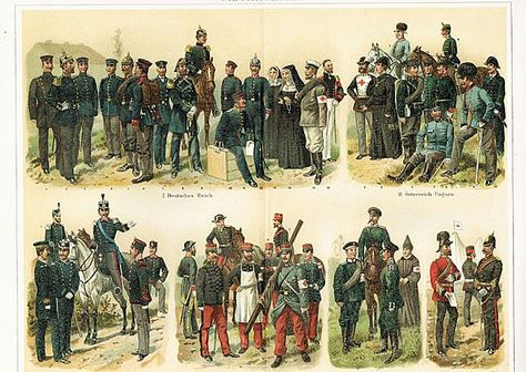 1898: Paramedic Corps. Old Chromolithograph.