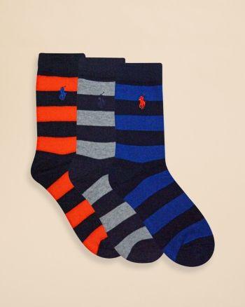 26b46c6c Polo Ralph Lauren Boys' Rugby Stripe Socks, 3 Pack - Sizes 4-7 ...