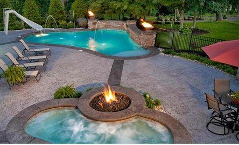 Garten Pool und Feuerstelle zusammenstellen - 15 Ideen - eine feuerstelle am pool