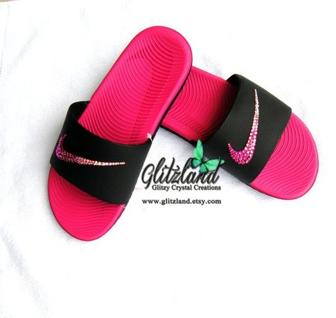 Swarovski Nike Kawa Slides   Flip Flops Blinged with Ombre Pink SWAROVSKI®  Crystals af821046306c