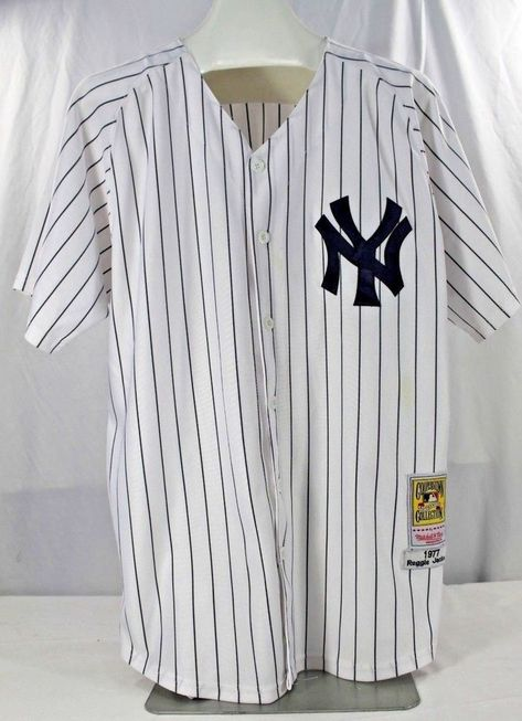 d887fdddbf5 New York Yankees Reggie Jackson  44 White Pinstripes Mitchell   Ness  Cooperstown Collection 1977 52 Stitched Letters and Numbers.