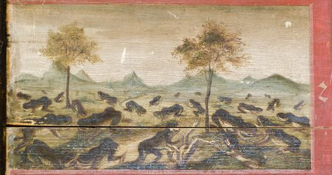 https://flic.kr/p/JvRF8q | 00057346 | Spätgotische Tafel mit den 10 Geboten und den 10 Ägyptischen Plagen, heute im Kloster Benediktbeuern
