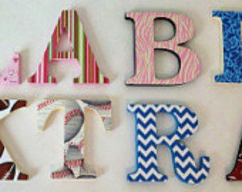 Baby Name and Girls Bedroom D/écor Wooden Hanging Wall Letters A-Z G White Decorative Wall Letter for Childrens Nursery Babys Room