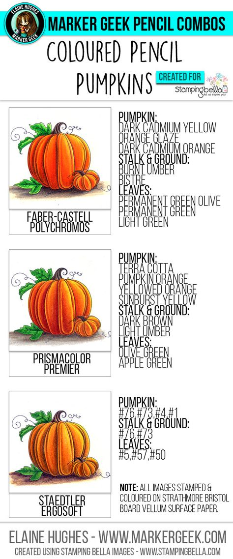 Marker Geek: Colouring Pumpkins using Coloured Pencils. Click through to get the…