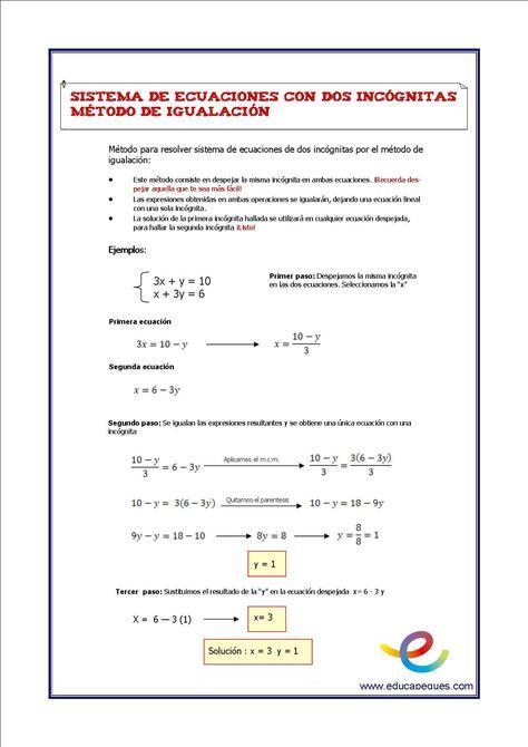 Sistemas De Ecuaciones De Dos Incognitas Matematicas Segundo De Eso Sistemas De Ecuaciones Ecuaciones Matematicas
