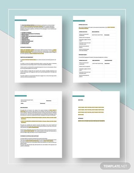 Education Program Proposal Template Free Pdf Google Docs Word Apple Pages Template Net Proposal Templates Free Proposal Template Proposal