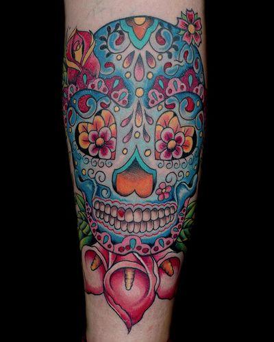 blue sugar skull tattoo by maliareynolds, via Flickr