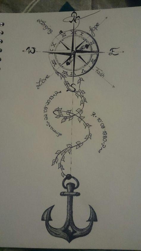 Tattoo compass drawing design clock 26 Ideas