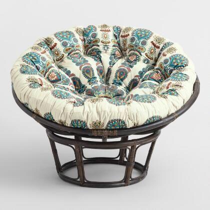 Ivory Mongolian Faux Fur Papasan Cushion World Market Chair