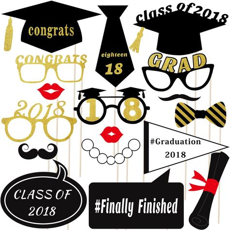 Losuya 2020 New Year Party Photo Booth Props 18pcs DIY Kit Masks Mustache Red Lips Glasses for New Year Party Decorations