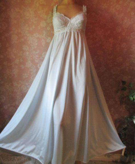 Vintage Olga Nightgown Blue Long Sleeping Pretty Lacy bodice XS S M Built in Bra 92040  #olganightgown #vintageolga #sleepingpretty #blueolga #vintagepretties