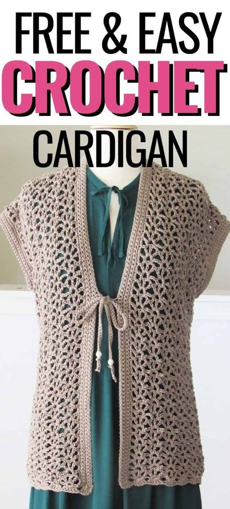 Lacy Crochet Cardigan Pattern (Simple and Quick) - Crochet Dreamz Crochet Cardigan Pattern, Crochet Tunic, Crochet Clothes, Crochet Vests, Crochet Sweaters, Crochet Tops, Crochet Patterns, Boys Sewing Patterns, Quick Crochet