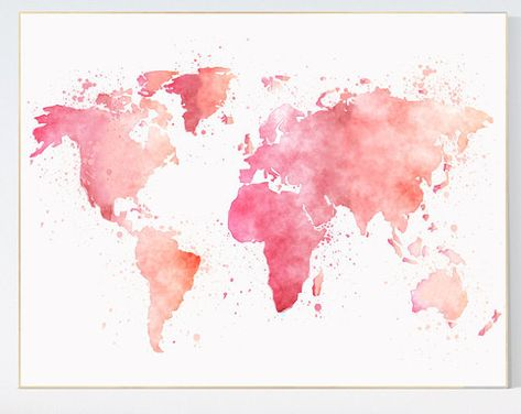 Pink World Map watercolor map baby girl nursery pink | Etsy