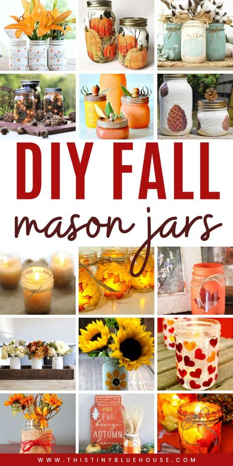 Get your home fall ready with these best fall mason jar crafts. Easy to make these best fall mason jar crafts are a fun way to glam up your home for autumn. Fall Mason Jars, Mason Jar Gifts, Mason Jar Diy, Mason Jar Thanksgiving Centerpieces, Mason Jar Projects, Diy Projects, Decorated Jars, Fall Diy, Jar Crafts