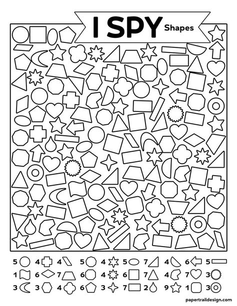 Free Printable I Spy Shapes Activity - Paper Trail Design Free Kindergarten Worksheets, Worksheets For Kids, Classroom Activities, Preschool Activities, Shape Activities, Activity Sheets For Kids, Hidden Pictures, Paper Trail, I Spy