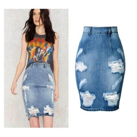 3fdbb5ba9 34-44 big size High waist Down V sexy Jean Skirts Tears Women denim skirts  Holes Girls jupe blue saia Female Ripped Mini skirt