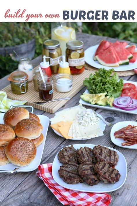 Here's a fun idea for your next backyard barbecue— a Build Your Own Burger Bar complete with the best burger patties and a buffet of toppings and condiments. You provide the options, while your guests bring their appetites and creativity!