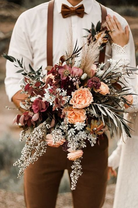 Top 15 Must See Rustic Wedding Ideas ---moody dark fall wedding ceremony in the outdoor woodland with wildflowers and wheat bouquet. Fall Wedding Bouquets, Fall Wedding Flowers, Fall Wedding Colors, Bridal Flowers, Wedding Color Schemes, Floral Wedding, Bouquet Flowers, Bridal Bouquets, Trendy Wedding