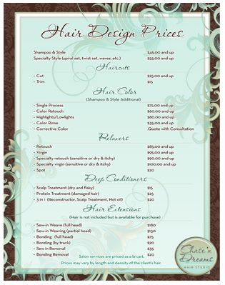 Salon Service Menu Using The Plus Sign To Indicate That Price
