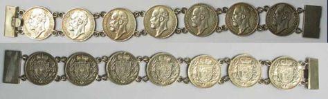 1900-1915 Liechtenstein LIECHTENSTEIN Bracelet from 7 x 1 Krone 1900-1915 JOHN II silver XF RARE!# 91783 vz
