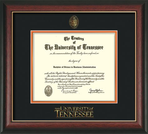 University of Tennessee Diploma Frame - R Gold L - Word - Black ...