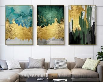 Set Of 3 Wall Art Framed Painting Gold Emerald Green Blue Etsy Canvas Painting Wall Art Gold Leaf Green Wall Art
