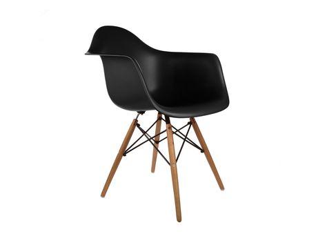 Eames Style Molded Plastic Dowel Leg Armchair (DAW) Natural