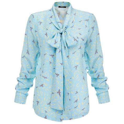 0d0319c03a2ee1 Raoul Flora Blue Printed Silk Pussybow Blouse ( 155) ❤ liked on Polyvore  featuring tops