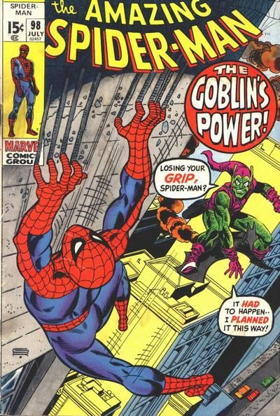 Amazing Spider-Man #98. A classic comic cover again, clear colours which makes you know straight away whom the characters are, detailed background which i like.