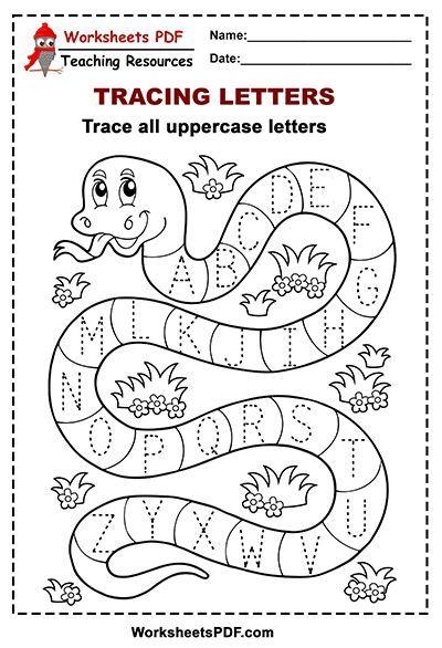Snake Tracing Alphabet Upper Case Letters Worksheets Pdf In 2020 Alphabet Worksheets Preschool Tracing Worksheets Preschool Letter Tracing Worksheets Kindergarten letter worksheets pdf