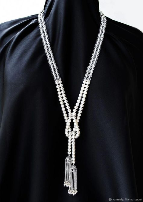 Sotuar necklace with a tassel and pearl, crystal . - Sotuar necklace with a tassel and pearl, crystal … necklace -
