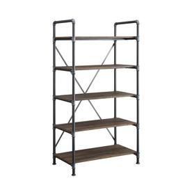 Whalen Distressed Brown Metal 5 Shelf Bookcase Lowes Com 5 Shelf