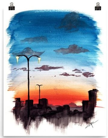 Watercolor Sunset City Painting Print In 2020 Sunset Art